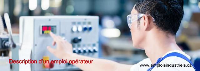 Description l'emploi opérateur